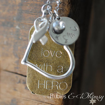 In Love With A Hero - Personalized Necklace, Military Wife, Military girlfriend, Deployment, Engraved, USMC, USAF, Army Wife, Military, Gift