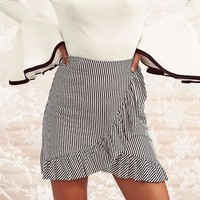 Trending High Waist Split Ruffle Plaid Skirt -2 Pattern Options-
