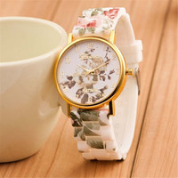 Womens Girls Green Floral Print Silicone Jelly Strap Watch Fashion Casual Watches Best Christmas Gift