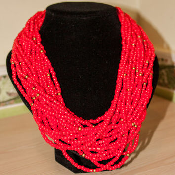 Hot Red Multi-strand Women Necklace. Beaded Necklace. Ethnic Red and Gold Beads. Bridesmade Jewelry by Three Snails. Free Shiping!
