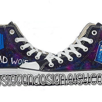 Bad Wolf Dr Who Custom Converse / DW & Tardis / Painted Shoes