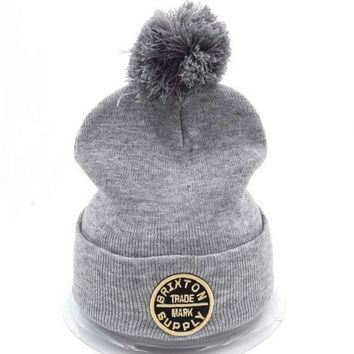 Brixton Women Men Embroidery Beanies Warm Knit Hat Cap-5
