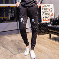 Stylish Pants Skull Embroidery Men Casual Men's Fashion Sportswear [6541431555]