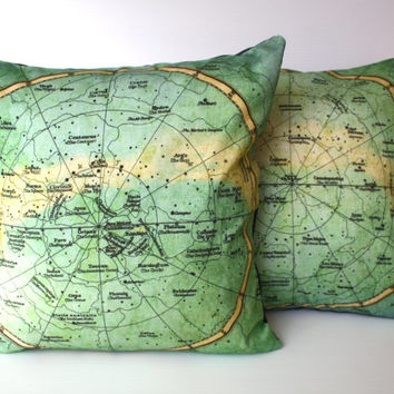 Cushion covers, pillowSET of 2 North and South Constellations, Organic cotton eco friendly 16 inch, 41cm