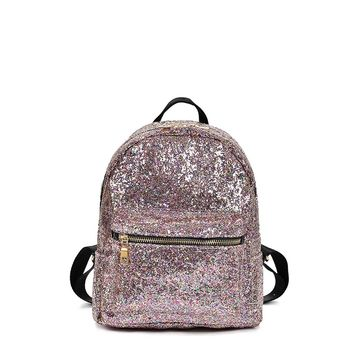 Zipper Front Glitter Design Backpack