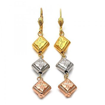 Gold Layered 5.095.012 Long Earring, Flower Design, Diamond Cutting Finish, Tri Tone