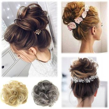 High Quality Women's Tiara Satin Curly Messy Bun Hair Twirl Piece Band Rope Scrunchie Wigs Extensions Hairdressing 16 Colors