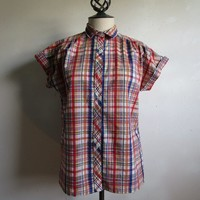 Vintage Plisse Madras Summer Ladies Top 70s Cotton Plaid Colorful Blue Red 1970s Short Sleeve Cuff Shirt M
