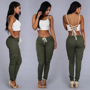 Summer Casual Multi Pocket Pants High Waist Solid Lacing White Red Army Khaki Shiny Pencil Pants Capris Women Trousers