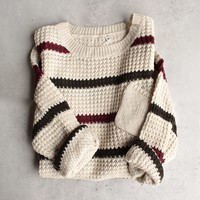 chunky oversized stripe knit boyfriend sweater - beige