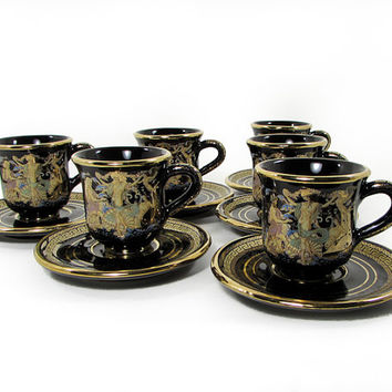 Aphrodite Demitasse Cups & Saucers in 24k Gold Trim Handmade in Greece Set of 6