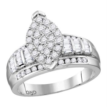 Sterling Silver Women's Round Diamond Oval Cluster Bridal Wedding Engagement Ring 1/2 Cttw - FREE Shipping (US/CAN)