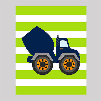 Dump truck on Lime Green Stripes Print Construction Decor Baby Print CUSTOMIZE YOUR COLORS 8x10 Prints Nursery Decor Baby Room Decor Kids