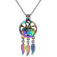 C925 Rainbow Color Dream Catcher Beaty Pumpkin Hat Halloween Leaf Hollow Locket Pendant Aroma Essential Oil Diffuser Necklace