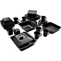 Bold Black Elegant Square Banquet 45-Piece Dinnerware Serving Set