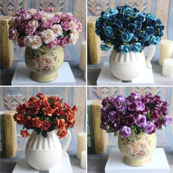 Austin 15 heads Silk Flowers Artificial Rose Wedding Bridal Party Floral Peony [7978670215]