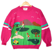 Hot Pink Vintage 90s Puffy Lady Golf Ugly Sweater - The Ugly Sweater Shop