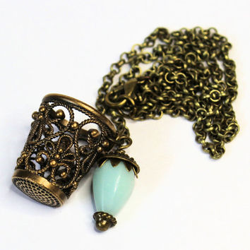 Peter Pan Brass and Pale Blue Amazonite Thimble and Acorn Necklace Peter Pan and Wendy Hidden Kisses