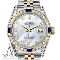 Rolex 31mm Datejust 2 Tone White MOP Roman Numeral Dial with Sapphire & Diamond