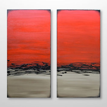 FREE SHIP- Original Abstract Diptych Painting - Modern Contemporary Canvas Wall Art - Red, Grey, Black - Large Square 24 x 24: Red Dusk