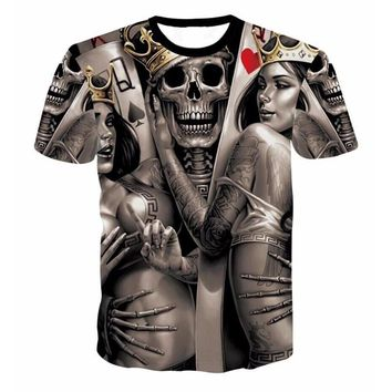 Cool ONSEME Unisex-Adult Hipster 3D T Shirt Tees Funny Eagle/Lions/Skull/Boss Dog/Wolf/King Queen Prints TShirts Hip Hop TopsAT_93_12