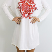 Snowed In Ivory & Red Glitter Snowflake Dress