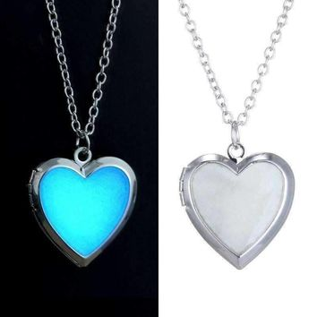 Beaming Heart Glow in The Dark Locket Necklace