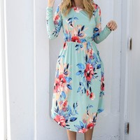 The Grove Mint Floral Midi Dress