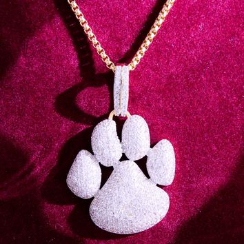 Men's Iced Out 14k Gold Finish Little Dog Paw Pendant
