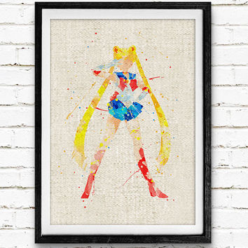 Sailor Moon Watercolor Art Print, Anime Room Wall Poster, Home Decor, Not Framed, Buy 2 Get 1 Free!