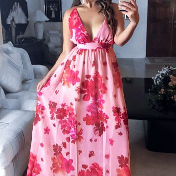 Angelina Sexy Sheer Spaghetti Criss Cross Straps Beach Party Maxi Dress - Pink
