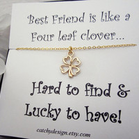 Best Friend Gift,Best Friend,4 Leaf Clover Necklace With Card,Gold Leaf Clover Necklace,valentines day gift,Shamrock,BFF Gift