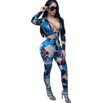 Women Sexy Floral Print Two Piece Long Sleeve Crop Top Pant Set