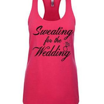 Sweating For The Wedding Terry Racerback Tank Top - yoga top, yoga clothes, racerback tank, funny workout tank, gym tank, fitness tank