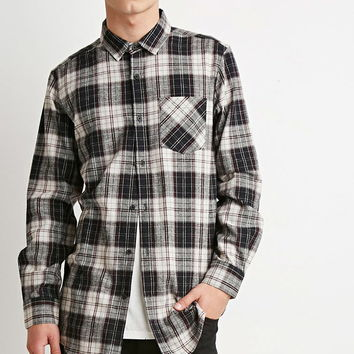 Zippered Plaid Flannel Shirt