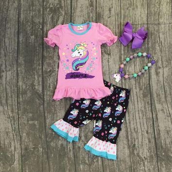 Unicorn Dreams Ruffle Capri Outfit w/ accessories