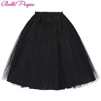 Belle Poque 2017 Jupon Rockabilly Petticoat Underskirt Crinoline Retro Vintage Women Party Black Slips Tulle Skirt Pettiskirt