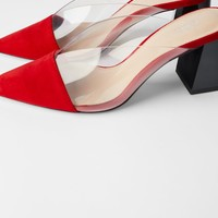 MID-HEIGHT HEELED MULES WITH VINYL UPPER
