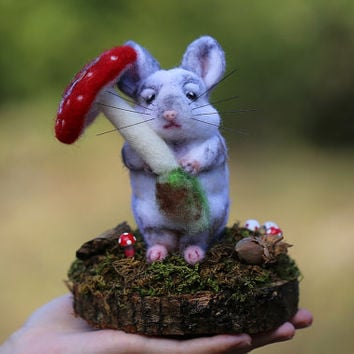 Needle Felted Chinchilla, Chinchilla Sculpture, Animal Sculptures, Needle Felted Animal, Felt Animals, Mushroom, Woodland, Fairytale, Whimsy