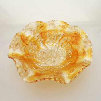 Vintage Imperial Glass Amberina Luster Rose Carnival Bowl, Marigold Ruffled Bowl