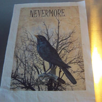 Nevermore fabric panel Edgar Allan Poe quilt block fabric gift cotton sew on patch art journal supply gothic wall art grungy sewing gift