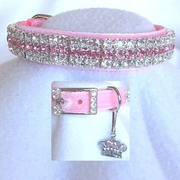 Pink Velvet Princess Rhinestone Dog or Cat Collar