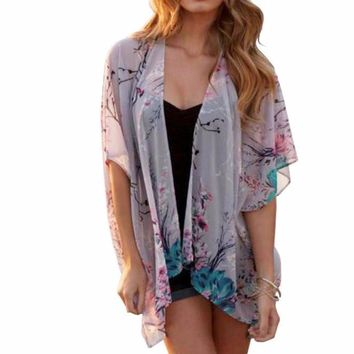 Women's Vintage Floral Cherry Blossom Tree Print Chiffon Kimono Cardigan with Black Lace Back