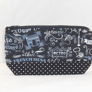 Black and White French Chalkboard Themed Fabric Zipper Pouch
