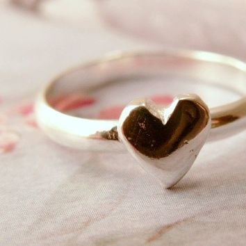 From the Heart Ring in 14k White Gold, Heart Stacking Ring