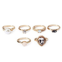 Faux Gem Ring Set