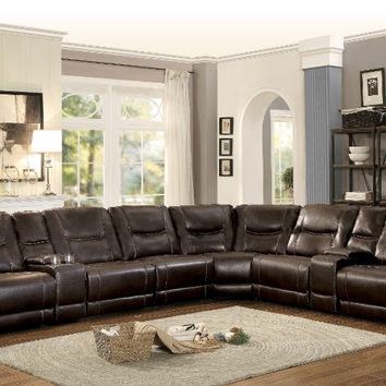 Home Elegance HE-8490-8pc 8 pc Columbus dark brown leather gel match sectional sofa with recliners and consoles
