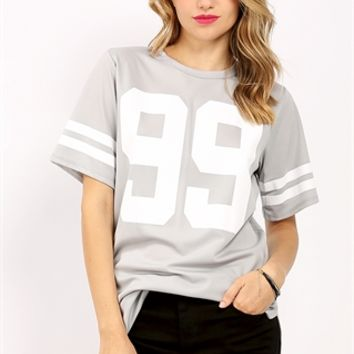 99 Graphic Varsity Stripe Boxy Top