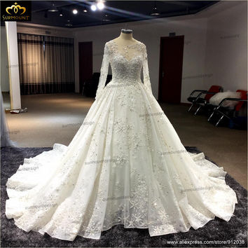 Cathedral/Royal Train Embroidered Lace Crystal Princess Scoop Neck Wedding Dress