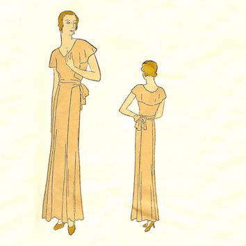 Vogue 5889 Misses' Evening Dress, Frock with Cape Sewing Pattern Circa 1930 Size 14 32 Bust